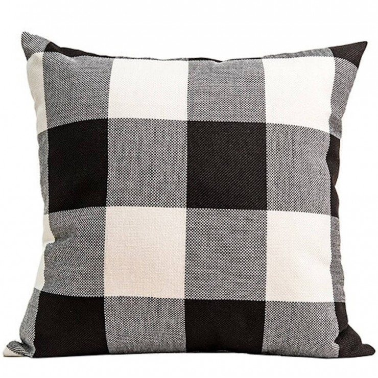 Buffalo Check Plaid Gingham Plaid Black And Ivory Double Sided Reversible Decorative Throw Pillow Pillow Frenzy