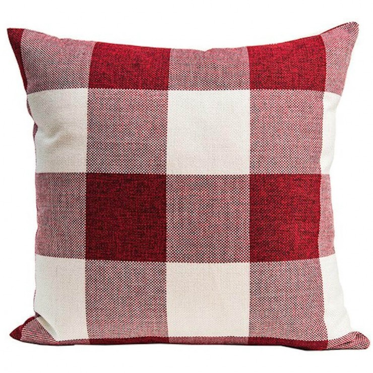 Buffalo Check Gingham Plaid Red And Ivory Double Sided Reversible Decorative Throw Pillow Pillow Frenzy