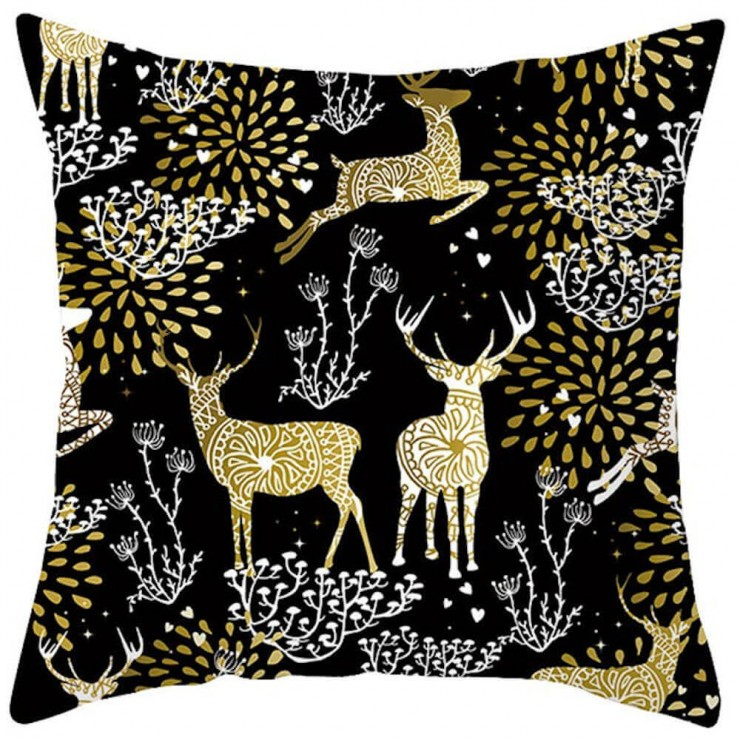 Christmas Gold And White Ornate Reindeer On Black Decorative Throw Pillow Pillow Frenzy