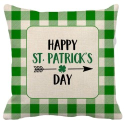Happy St Patricks Day Green Buffalo Check Plaid Border Decorative Throw Pillow Pillow Frenzy