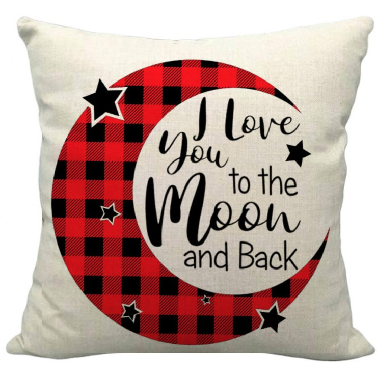 Valentine S Day Buffalo Check Plaid I Love You To The Moon And Back Typography Decorative Throw Pillow Pillow Frenzy