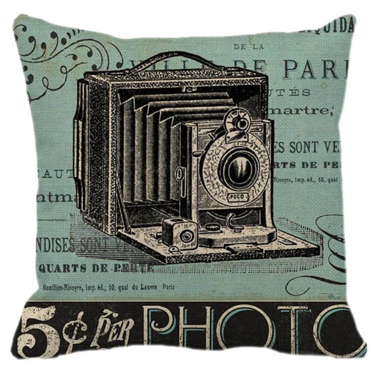 Vintage Camera Gray Distressed Decorative Throw Pillow Pillow Frenzy
