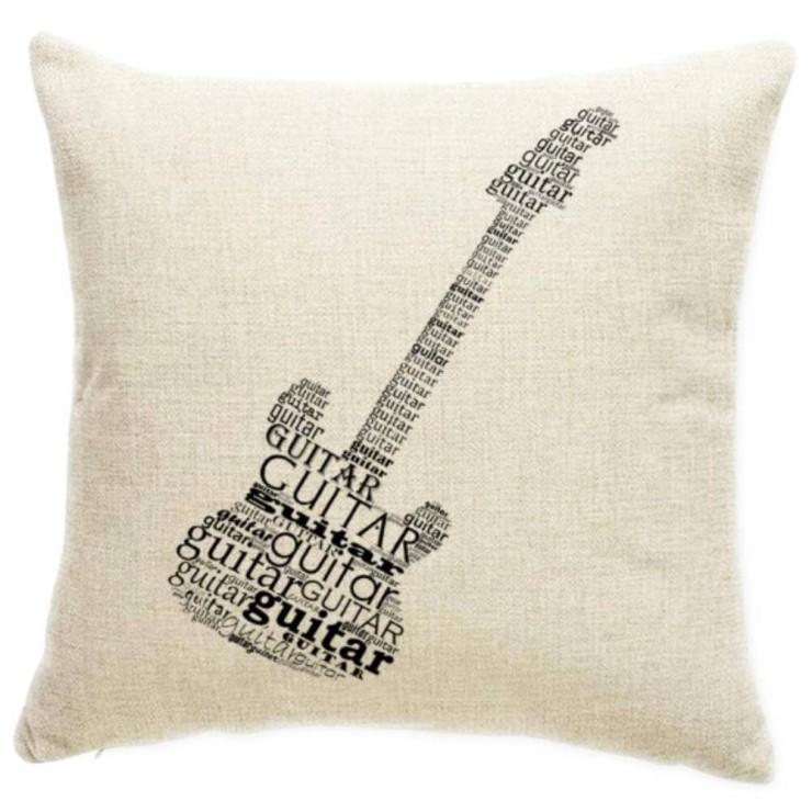 Word Cloud Silhouette Guitar Decorative Throw Pillow Pillow Frenzy