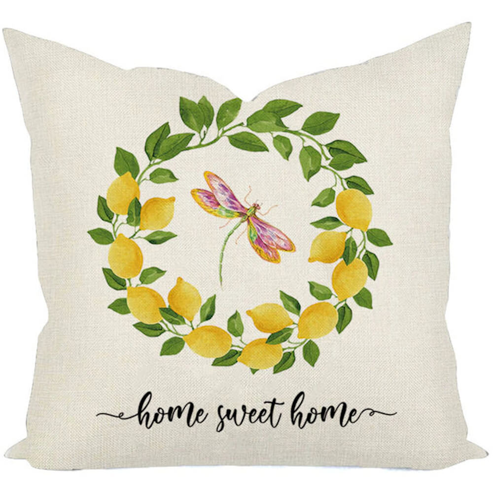 great for couches porches fresh lemonade summer spring Home Sweet Home Lemon Wreath pillow cover lemons bedrooms year round Decor