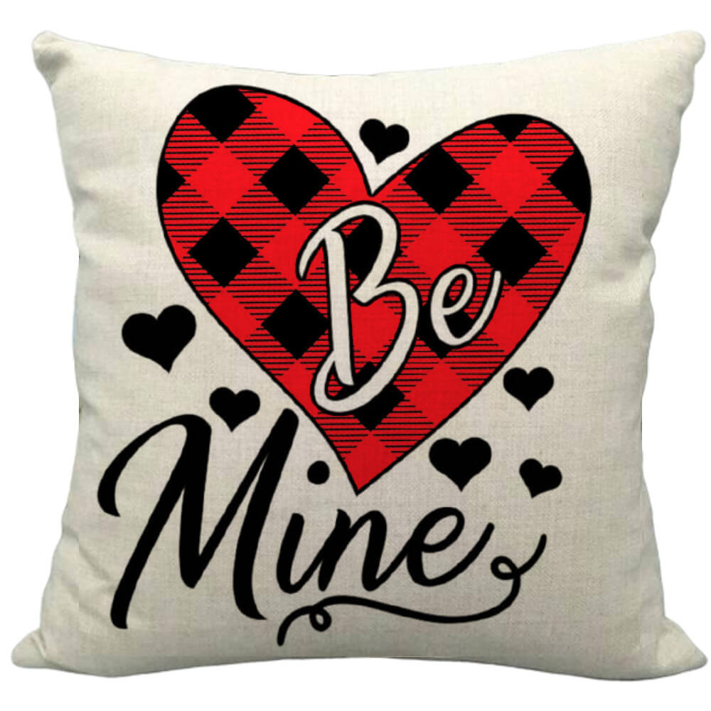 Valentine S Day Buffalo Check Plaid Heart Be Mine Typography Decorative Throw Pillow Pillow Frenzy