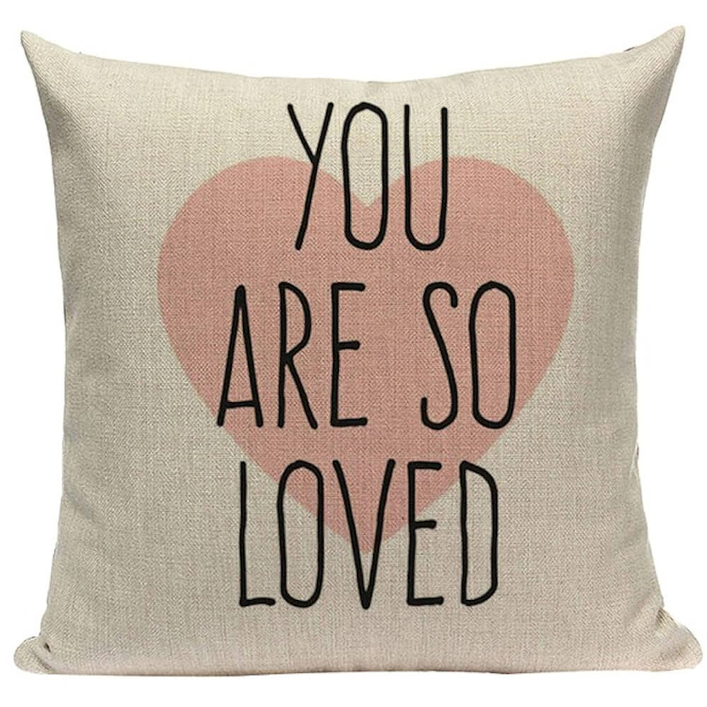 You Are So Loved Typography Pink Heart Decorative Throw Pillow Pillow Frenzy